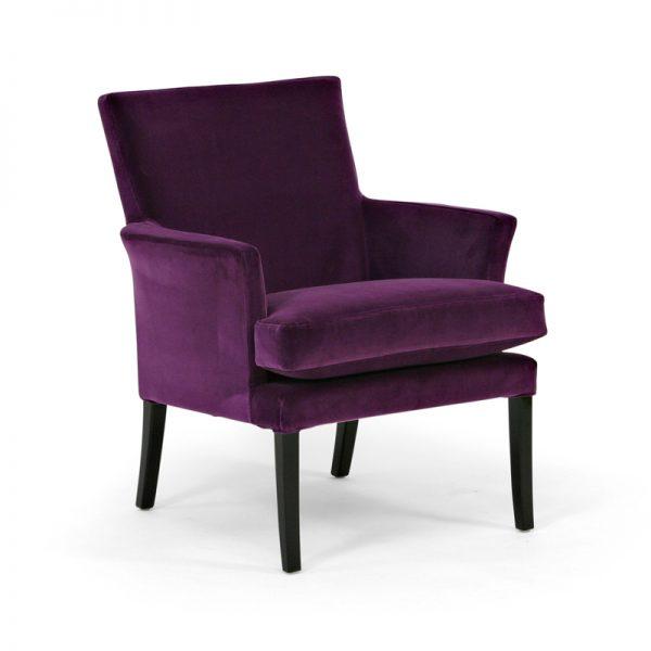 Celina lila fåtölj, svarta ben, design Marie Norell