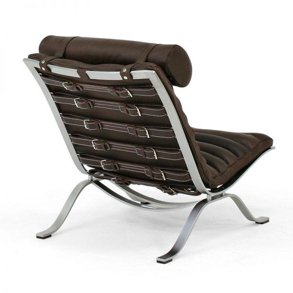Ari fåtölj mörkbrunt läder design Arne Norell