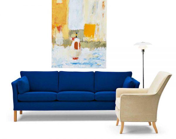 Cromwell blå soffa med träben design Arne Norell
