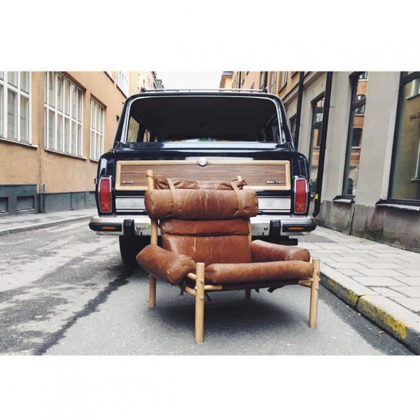 Vintage Inca i cognac-läder från Norell Möbel. Design: Arne Norell.