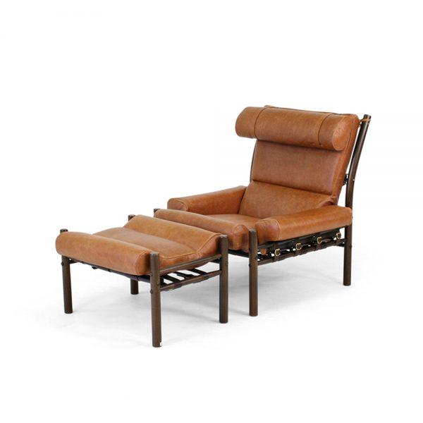 Inca fåtölj i vintage läder. Design Arne Norell, Norell Möbel.