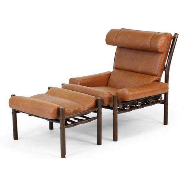 Inca, Elmo vintage cognac-läder kombinerat med mörkbrunt stödläder. Design Arne Norell - Norell Möbel.