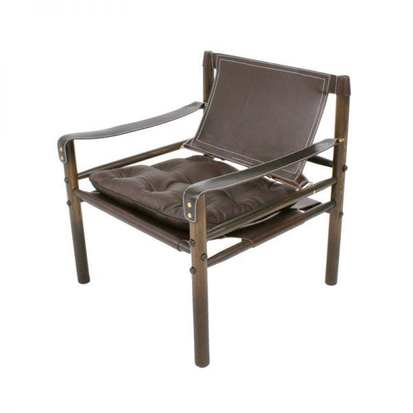 Sirocco safari stol brunt läder design Arne Norell