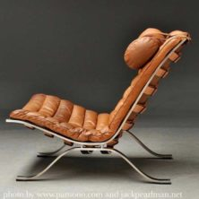 Ari fåtölj brunt vintage-läder, design Arne Norell