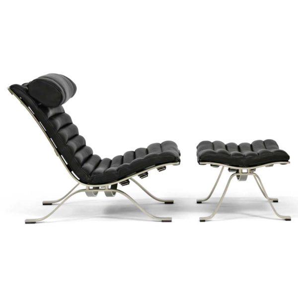 Ari svart läder fåtölj design Arne Norell