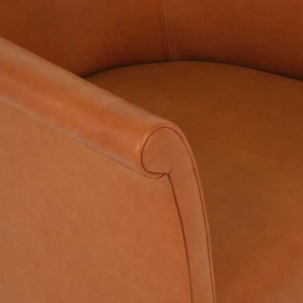Cicci fåtölj brunt läder design Marie Norell
