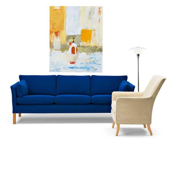 Leonardo beige fåtölj och blå Cromwell soffa design Norell Möbel