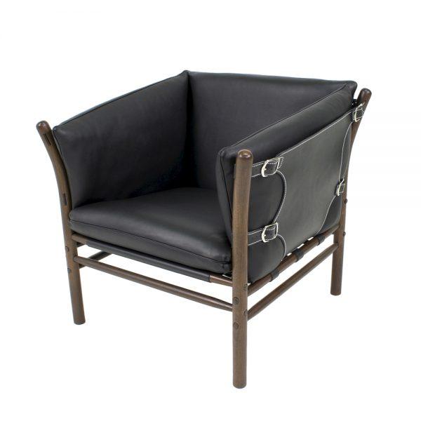 ilona svart fåtölj. Handgjord av Norell Möbel. Design Arne Norell.