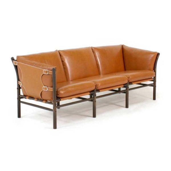 ilon soffa, cognac läder Sörensen, design Arne Norell