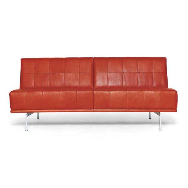 Look soffa i orange läder design Ulla Christiansson för Norell Möbel