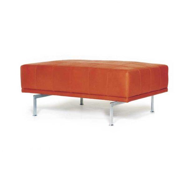 Look orange pall läder design Ulla Christiansson för Norell Möbel