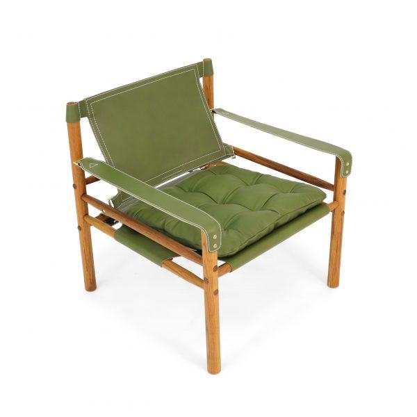 Sirocco i olivgrönt läder från Tärnsjö Garveri. Design: Arne Norell 1964.