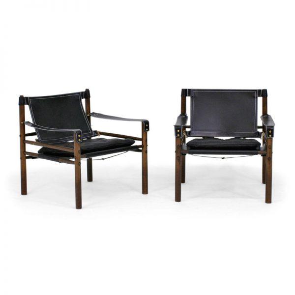 Sirocco svart läder safari stol design Arne Norell