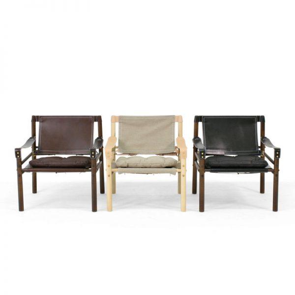 Sirocco läder och canvas safari stol design Arne Norell