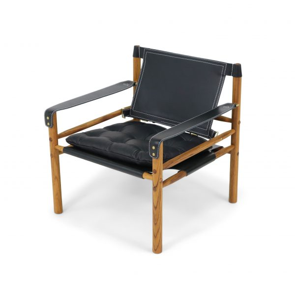 sirocco black leather safari chair arne norell furniture