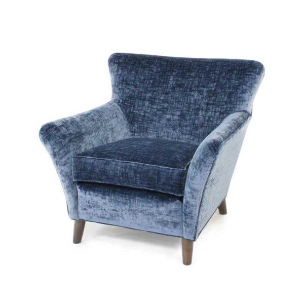 Alexandra blå fåtölj design Marie Norell