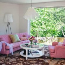 Romeo & Julia rosa soffa & fåtölj, design Norell Möbel