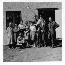 Arne Norell together with his family and the workers at Norell Furniture