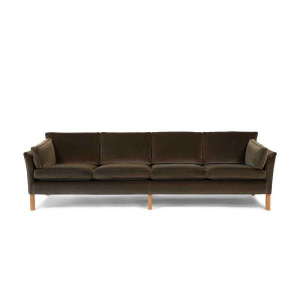 Soffa Cromwell 4-sits, klädsel brun plysh